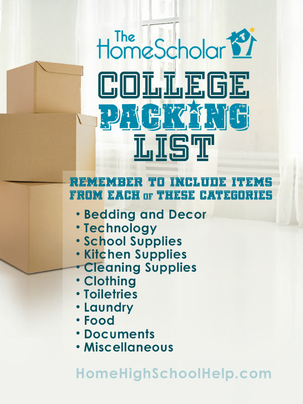 Homeschool to College Packing List Pin